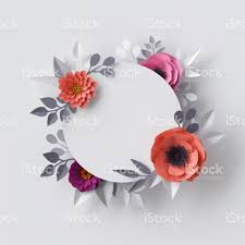 3d render abstract paper flowers floral background blank round