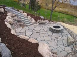 Stone Patio With Fire Pit Natural Stone Patios This Natural Stone Patio Has Concre