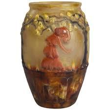 Glass Vase Art Art Deco Vase With Marigolds By Gabriel Argy Rousseau France