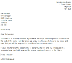 teacher resignation letter example toresign com