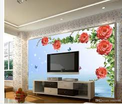 Livingroom Art Home Decor Living Room Natural Art 3d Rose Flower Mural 3d