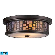 Best Shop Lights by Shop Elk Lighting 70027 2 Led Tiffany Flushes Led Flush Mount