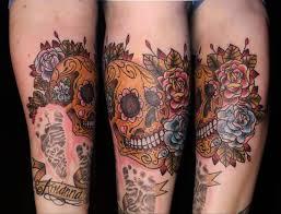 wonderful glowing dia de los muertos tattoo design make on upper