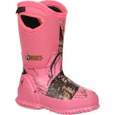 girls pink camo rubber boots w waterproof and insulation rubber
