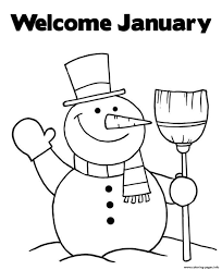 welcome january snowman s5f24 coloring pages printable