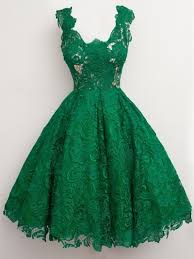 great design emerald green lace cocktail dresses 2017 knee length
