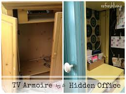 Tv Armoire Tv Armoire To A Hidden Office Desk Refresh Living