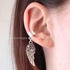 ear cuff piercing silver wing ear cuff angel wing earring no piercing clip on