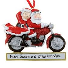 santa mrs claus a glittered motorcycle ornament
