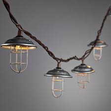 and wire cage patio light string