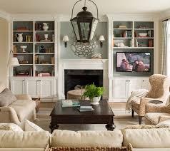 Family Room Fireplace  TV  Builtin Shelving Palladian Blue - Family room shelving