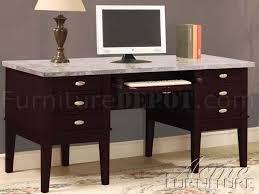 Espresso Office Desk Espresso Finish Marble Top Classic Home Office Desk