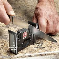 sharpening knives scissors and tools family handyman use a handheld sharpener on kitchen knives
