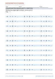 kindergarten worksheets addition adding two single digit numbers