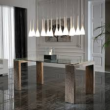 Stone Dining Room Table - modern miller dining table with a glass top and base in fossil stone