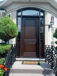 custom fiberglass entry door and frame with wrought iron