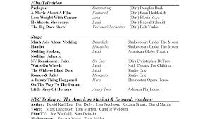 musical theatre resume template theatre resume template word exle actor format and musical