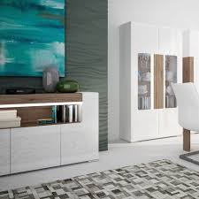 white gloss 2 door 3 drawer sideboard with oak effect homegenies