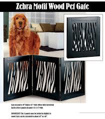 dog home decor amazon com die cut 3 panel adjustable wood zebra motif pet gate