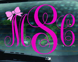 monogram car decal bow car monogram decal