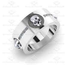 skull wedding rings sapphire studios mens 0 40 ct diamond white gold skull wedding ring