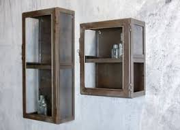 antique industrial metal u0026 glass doors wall cabinet shelf storage