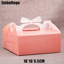 bow boxes pink packaging boxes for cakes with bow handle paper cake box for