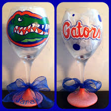 florida gator fan gift ideas florida gators wine glass hand painted florida gators glass