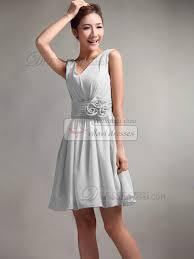 bridesmaid dresses silver a line v neck straps flower sash draped silver bridesmaid