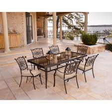 7 Piece Dining Room Sets Traditions 7 Piece Dining Set In Tan With Extra Large Glass Top