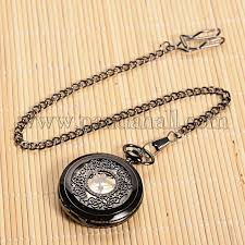 pocket watch necklace wholesale images Wholesale openable flat round alloy pendant pocket watch quartz JPG