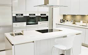 White Island Kitchen White Plastic Stainless Steel Chairs Wooden Stained Kitchen