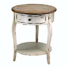 Abelard Distressed White Wood Round Accent Side Table Distress