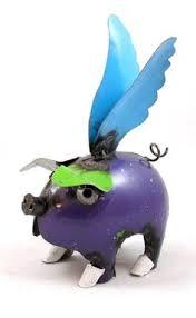 recycled metal yard garden folk 10 mini flying pig sculpture