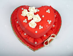 Heart Wedding Cake Beautifull Red Heart Wedding Cake With Roses Stock Photo Picture