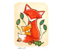 Woodland Home Decor Fox Print Fox Nursery Decor Fox Illustration Print Woodland