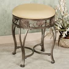 Vanity Chairs For Bathroom Rustic Beige Polished Iron Vanity Chair With Square White Leather