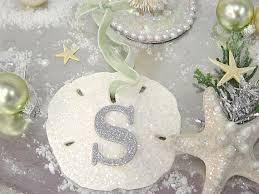 glitter sand dollar ornament monogram sea shell christmas tree
