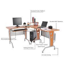 Computer Desk Brown Homcom Modern L Shaped Workstation Computer Desk