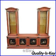 Oriental Credenza Vintage Jasper Oriental Chinoiserie Red Display China Cabinet
