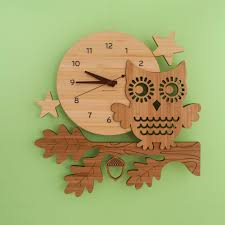 bamboo owl wall clock modern woodland baby nursery owl decor for