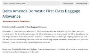 United Domestic Checked Bag Delta Devalues 1st Class Bag Allowance From 3 To 2 Will Cost You