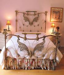Ideas For Brass Headboards Design Beautiful Antique Iron Bed With Butterfly Motif This Bed
