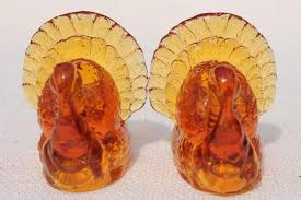 thanksgiving turkey pressed glass candlesticks pair of