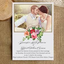 bohemian wedding invitations inexpensive photo wedding invitations rustic boho flowers ewi315