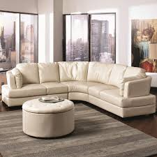 White Leather Chair With Ottoman Furniture White Leather Curved Sectional Sofa With Round Ottoman