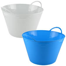 bulk white and blue plastic storage tubs with handles