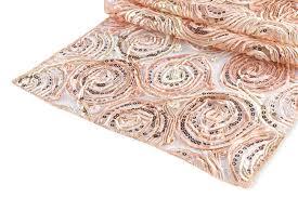 ribbon w sequin table runner blush rose gold cv linens