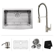 stainless steel kitchen sink combination kraususa com kraus 30 inch farmhouse single bowl stainless steel kitchen sink with kitchen faucet and soap dispenser