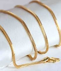 pattern gold necklace images Chain aiza box pattern 18kt gold chain snapdeal jpg